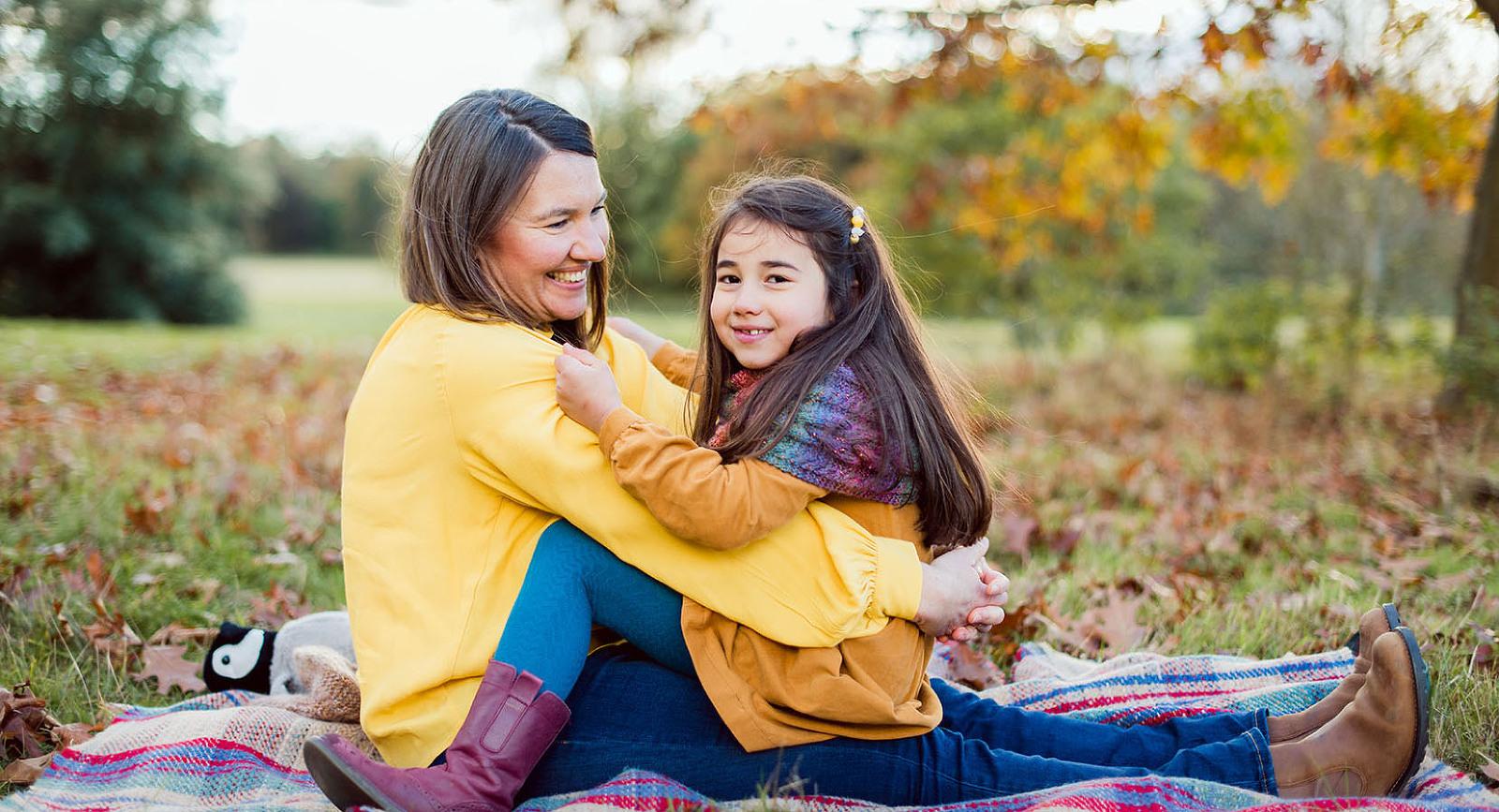Mum and daughter portrait in autumn Surrey