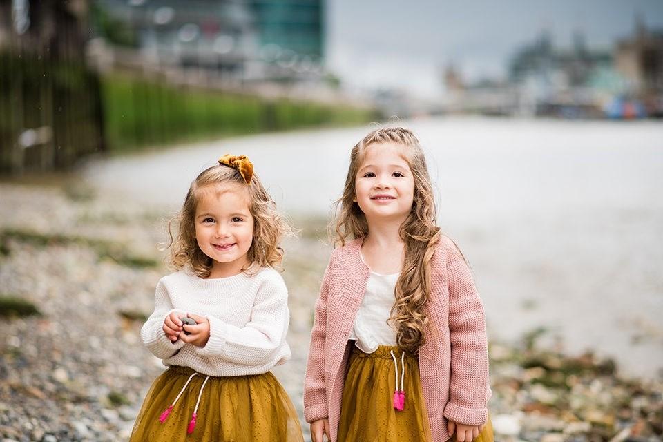 Girls visiting London smiling