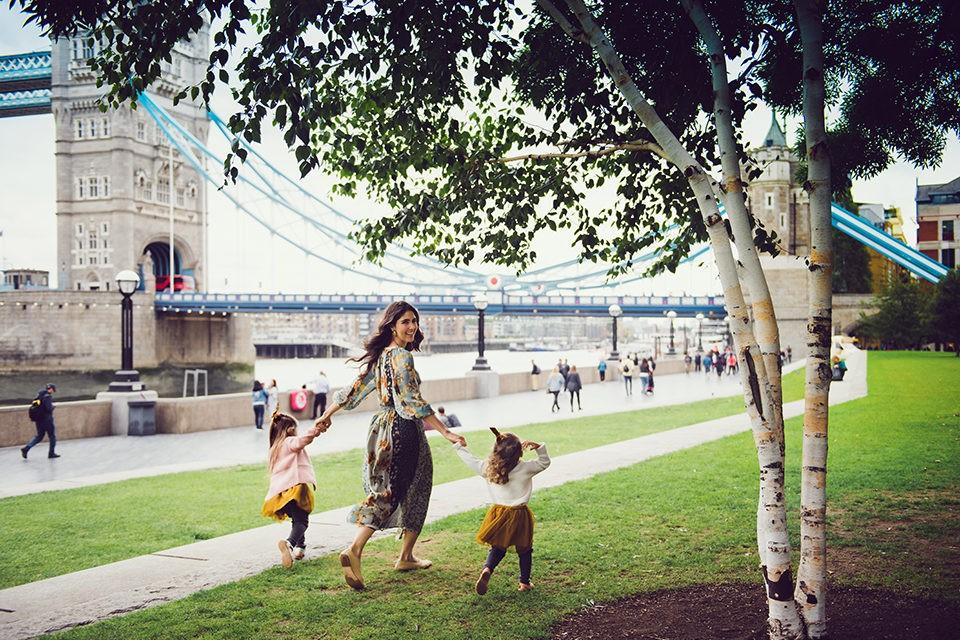 A family walking at Tower Bridge London