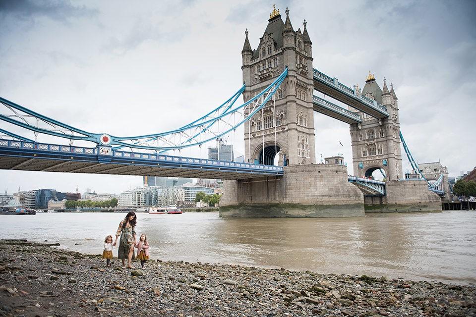 A family London Vacation Photo Shoot at Tower Bridge