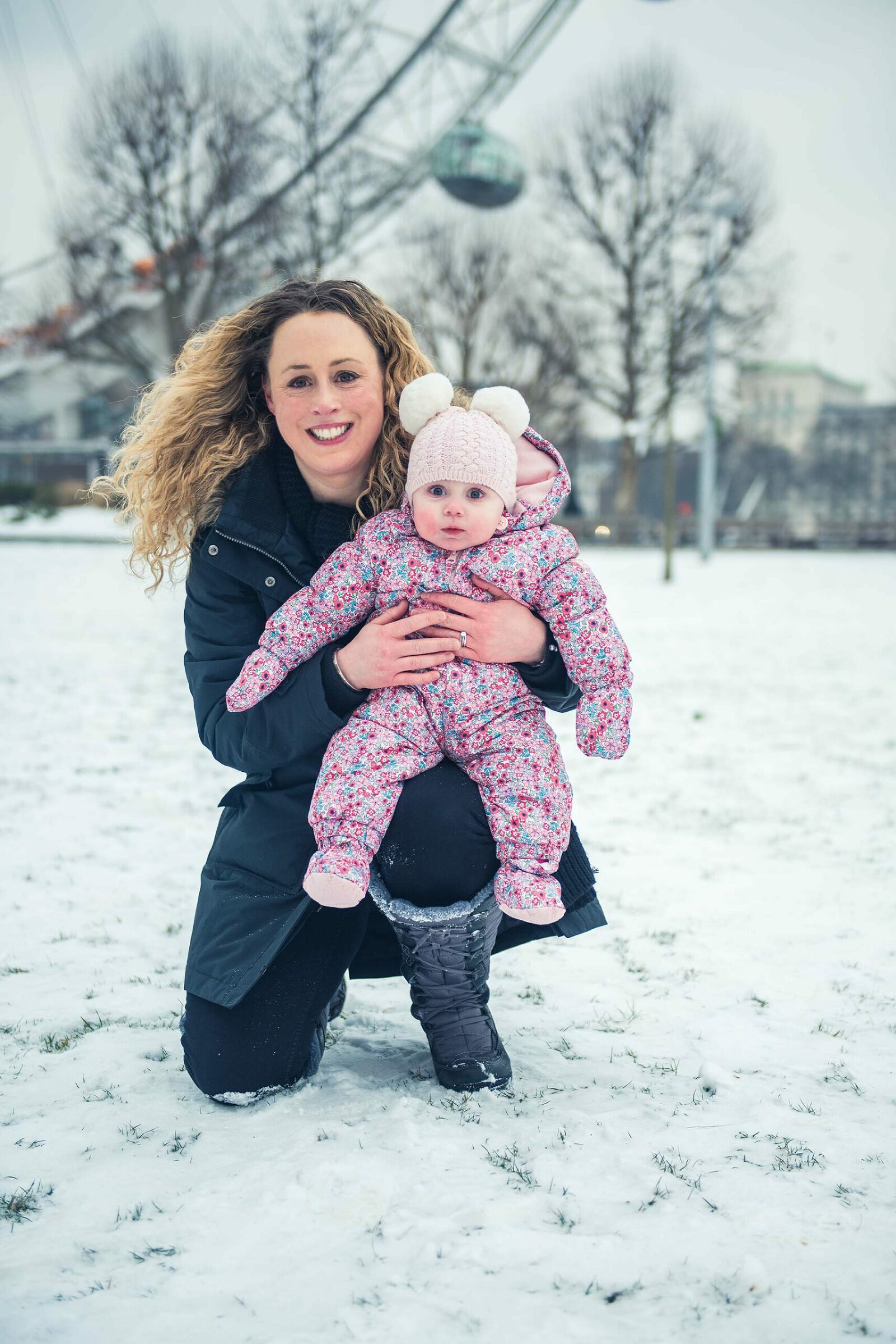 Mum and baby in the snow London