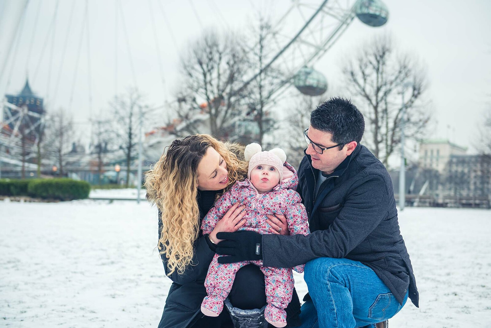 Family at London Southbank in the snow