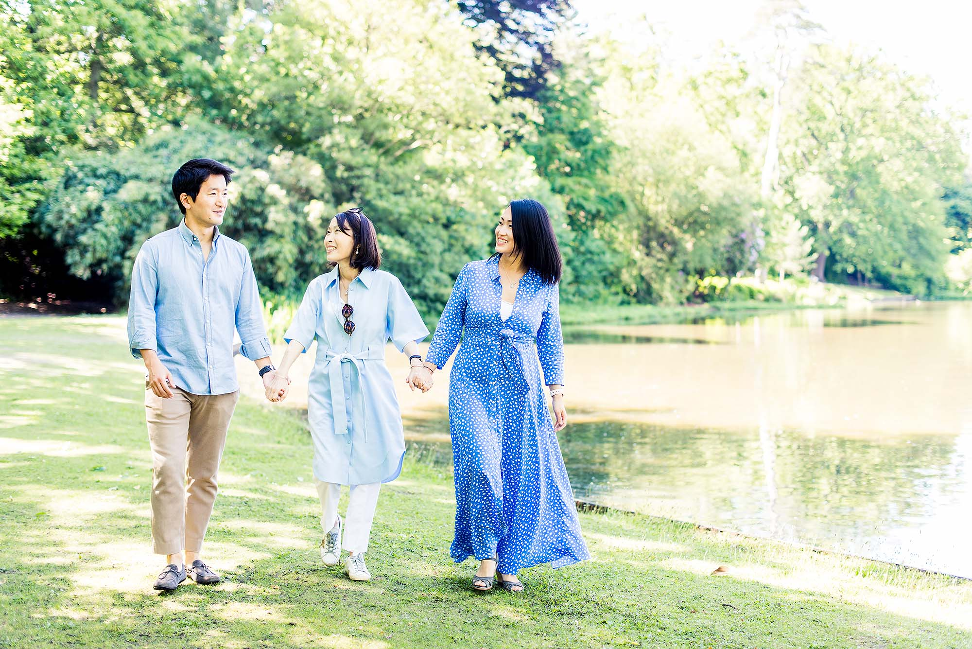 Family walking on a photo shoot at Claremont Gardens