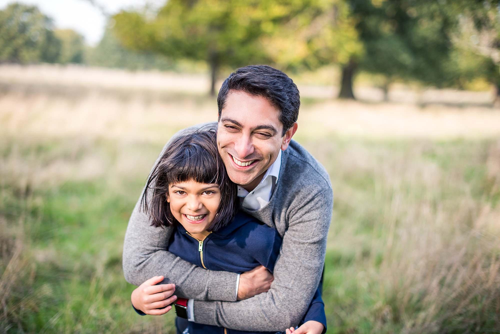 Dad hugging his daughter Surrey Photo shoot